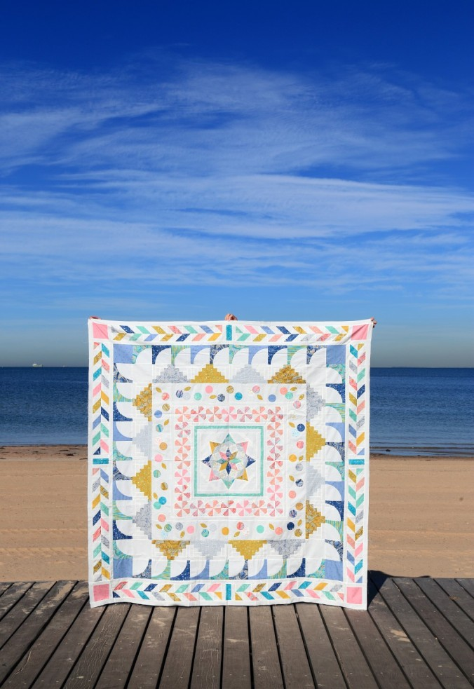 Girt By Sea is a modern medallion quilt pattern collaboration by 6 Australian quilt designers. Find out more at BlossomHeartQuilts.com